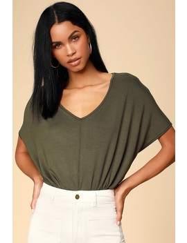 Wallen Olive Green Oversized V Neck Tee Bodysuit by Lulu's