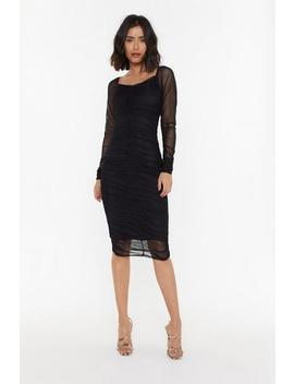 Square Neck Midi Gathered Mesh Dress by Nasty Gal