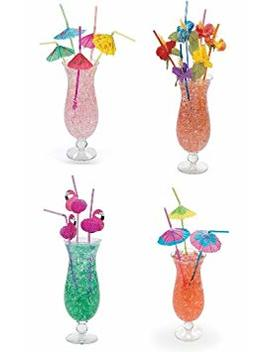 4 Dozen Assorted Tropical Drinking Straws Luau Wedding Hawaiian Umbrella Flamingo Flower by Oriental Trading
