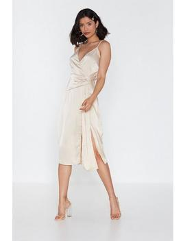 Wrap Drape Detail Midi Dress by Nasty Gal