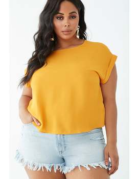 Plus Size Cuffed Boxy Top by Forever 21