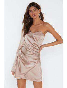 Dancing On My Own One Shoulder Satin Dress by Nasty Gal