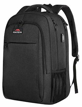 Extra Large Backpack,Tsa Friendly College School Bookbags With Laptop Compartment Fit 17 Inch Notebook For Boy & Girl,Anti Theft Usb Travel Work Rucksack With Luggage Sleeve Black, Matein by Matein