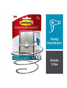 Command, Satin Nickel, 1 Hair Dryer Holder, 2 Large Water Resistant Strips   Bath39 Sn Es by Command