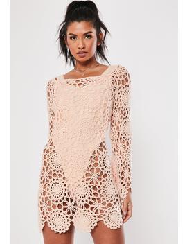 Pink Crochet Bardot Flare Sleeve Mini Dress by Missguided