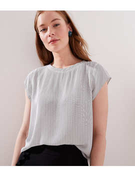 Petite Striped Perforated Lacy Mixed Media Top by Loft