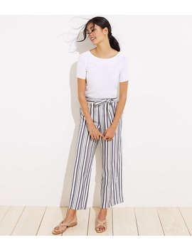Petite Shimmer Stripe Tie Waist Wide Leg Pants by Loft