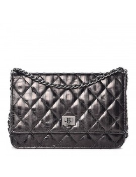 Chanel Aged Calfskin Striped Reissue Wallet On Chain Woc Black by Chanel