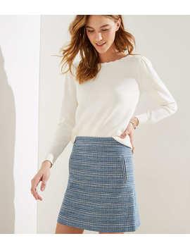 Petite Striped Tweed Shift Skirt by Loft