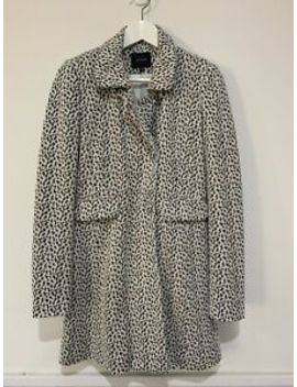 Portmans Size 8 Animal Print Wool Blend Button Front Long Winter Coat Euc by Portmans