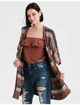 Ae Striped Pointelle Cardigan by American Eagle Outfitters