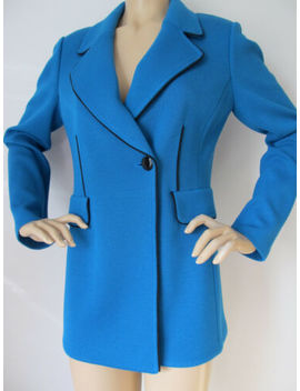 New St John Knit 8 Womens Jacket Coat Blue Prussian &Amp; Black Caviar Knit Wool by St John