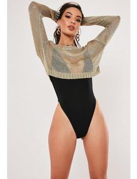 Gold Metallic Crop Jumper by Missguided