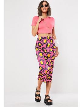 Pink Leopard Print Slip Skirt by Missguided