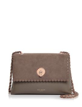 Sultane Studded Leather & Suede Crossbody by Ted Baker