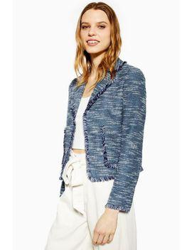 Navy Fringe Jersey Boucle Jacket by Topshop
