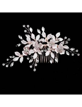 Women Hair Jewelry Floral Crystal Bridal Hair Comb Hairpin Ornaments For Wedding by Unbranded