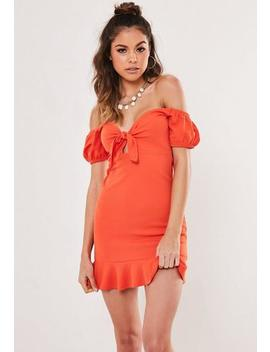 Petite Orange Tie Front Off The Shoulder Dress by Missguided