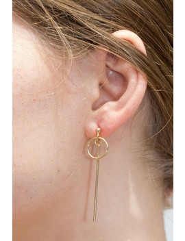 Gold Hoop With Bar Earrings by Brandy Melville