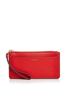 Perry Leather Zip Wristlet by Tory Burch