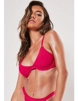 Pink Crinkle Underwire U Bikini Top by Missguided