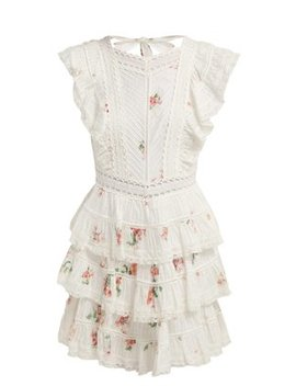 Heathers Floral Print Embroidered Lace Mini Dress by Zimmermann