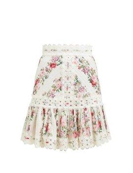 Honour Floral Print Pintuck Cotton Skirt by Zimmermann