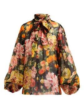 Floral Print Silk Chiffon Tie Neck Blouse by Dolce & Gabbana