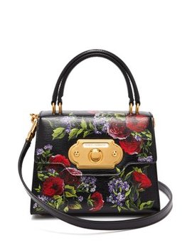 Welcome Mini Floral Painted Leather Bag by Dolce & Gabbana