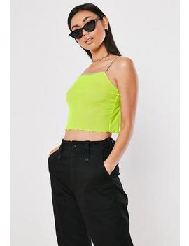 Neon Lime Mesh Lettuce Hem Cami Top by Missguided