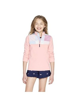 Girls' Long Sleeve 1/4 Zip Pullover Patchwork Whale Sweatshirt   Pink   Vineyard Vines® For Target by Pink