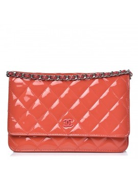 Chanel Patent Quilted Wallet On Chain Woc Coral by Chanel