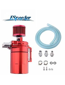 Espeeder Universal Aluminum Oil Catch Can Polish Baffled Reservoir Tank Red With Breather Filter 300ml by Espeeder
