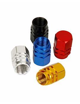 Tire Stem Valve Dust Caps, Car Wheel Air Aluminum Covers, 40 Pack   5 Color by Val Caps