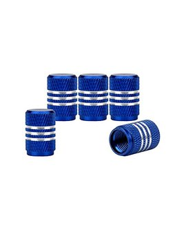 Senzeal 5x Aluminum Car Tire Valve Stem Caps Round Style Air Covers Blue by Senzeal
