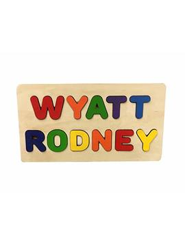 Wooden Personalized Name Puzzle 2 Row 2 Names Or First & Last Name   Choose Up To 11 Letters. Learning Educational Toys by Kidzco