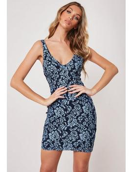 Blue Floral Lace Bodycon Mini Dress by Missguided