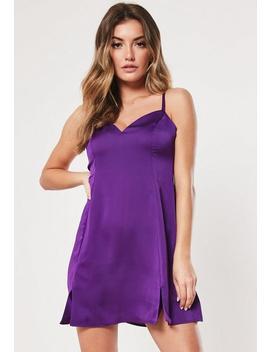 Purple Satin Cami Side Split Skater Dress by Missguided