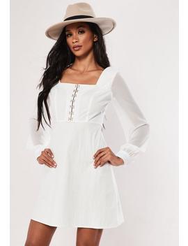 White Organza Hook & Eye Milkmaid Mini Dress by Missguided