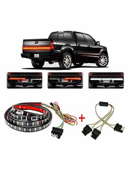 """Wigbow 60"""" 2 Row Led Truck Tailgate Light Bar Strip  [Brake, Turn Signal, Running, Reverse Backup]   Waterproof 5 Function Tail Lights With 4 Way Flat Y Splitter And Clean Cloth For Pickup Suv Jeeps by Wigbow"""