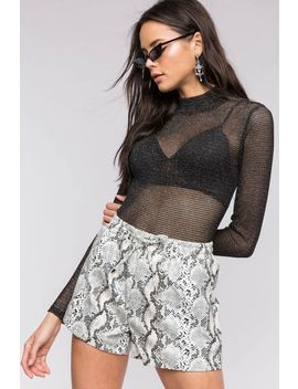 Snake Print Pu Short by A'gaci