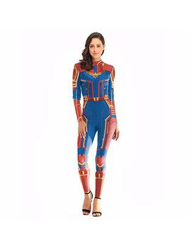 Captain Marvel Costume For Women, Bikini/Swimsuit,Large, Lycra Lady Bodysuits Halloween Cosplay Costumes Of 3 D Style by Yong En Shang
