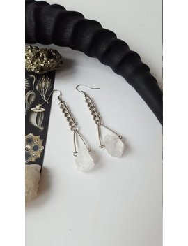 Minimal Raw Quartz Earrings   Witchy, Protection, Pagan, Wicca, Witch, Magic, Gothic, Boho, Spitirual, Equinoxart by Etsy