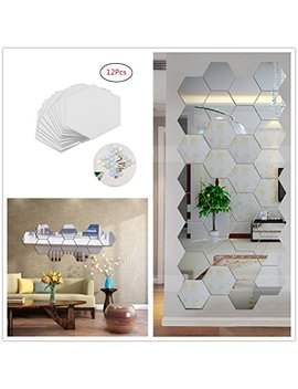 Yusylvia 12 Pcs Hexagonal 3 D Acrylic Mirrors Wall Stickers Home Decor Living Room Diy Modern Art Mirror Wall Mural Decoration (Small, Silver) by Yusylvia