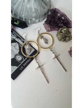 Swords Hand Gold Earrings   Witchy, Victorian, Warrior, Pagan, Viking, Alternative, Goth,Celtic, Gothic, Medieval, Equinoxart by Etsy