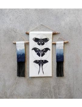 3 Piece Gallery Wall Banner Set, Luna Moth Art Print, Dip Dye Wall Hanging, Witchy Gift For Her, Boho Room Decor by Etsy