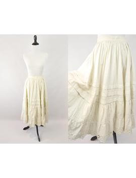 1910s Cotton Lace Trimmed Petticoat // Titanic Era Cotton Skirt // Victorian Cotton Muslin Skirt / Antique Cream Ruffled Skirt / Boho Witchy by Etsy