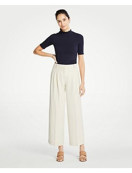 Petite Stripe Pleated Wide Leg Crop Pants by Ann Taylor