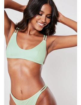 Lime Minimal Scoop Neck Bikini Top by Missguided