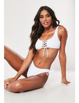 White Lace Up Scoop Neck Bikini Top by Missguided